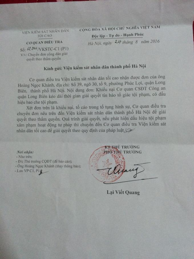 Cơ quan CSĐT VKSNDTC chuyển đơn vụ việc tới VKSND TP Hà Nội.