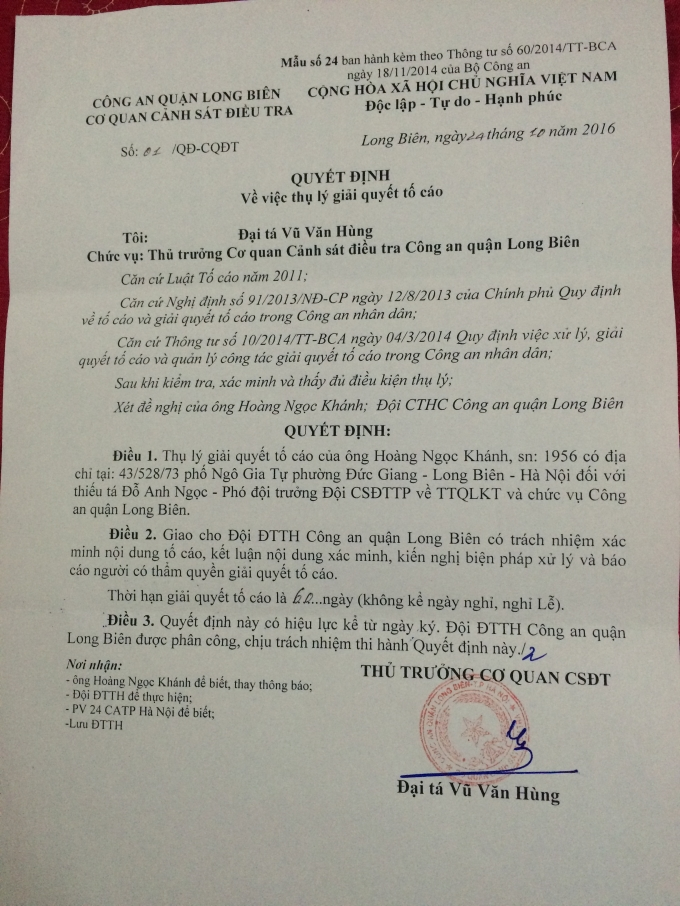 Quyết định thụ lý giải quyết đơn tố cáo của CA quận Long Biên.