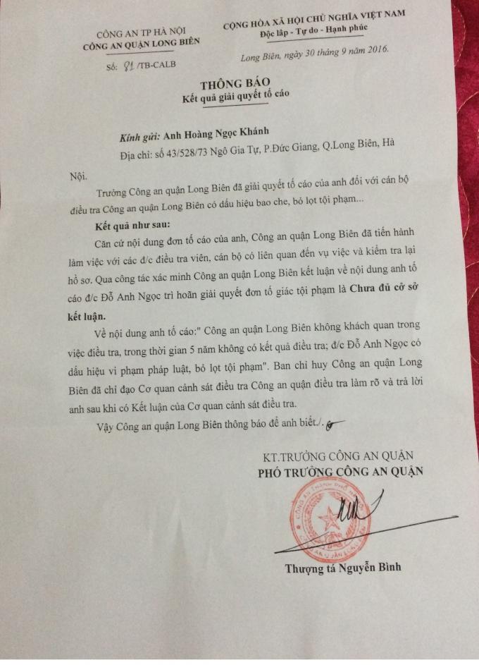 Thông báo kết quả giải quyết của CA quận Long Biên.