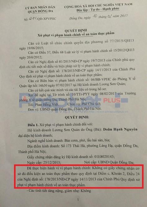 Quyết định xử phạt vi phạm hành chính của quận Đống Đa về vấn đề an toàn thực phẩm của nhà hàng Lương Sơn Quán.