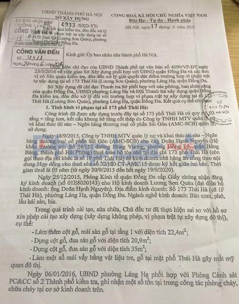 Công văn của Sở Xây dựng TP Hà Nội gửi UBND TP Hà Nội chỉ rõ những sai phạm về trật tự xây dựng của nhà hàng Lương Sơn Quán.