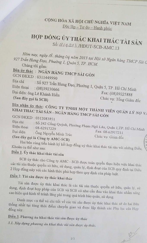 Hợp đồng ủy thác giữa Ngân hàng SCB và Công ty AMC-SCB.              Công ty AMC-SCB cho ông Nguyễn Hạnh Nguyên thuê nhà với số tiền 200 triệu đồng/tháng.