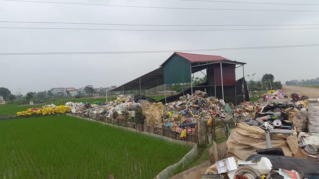 Hàng tấn chất thải bủa vây khu dân cư tại xã Trung Nguyên.