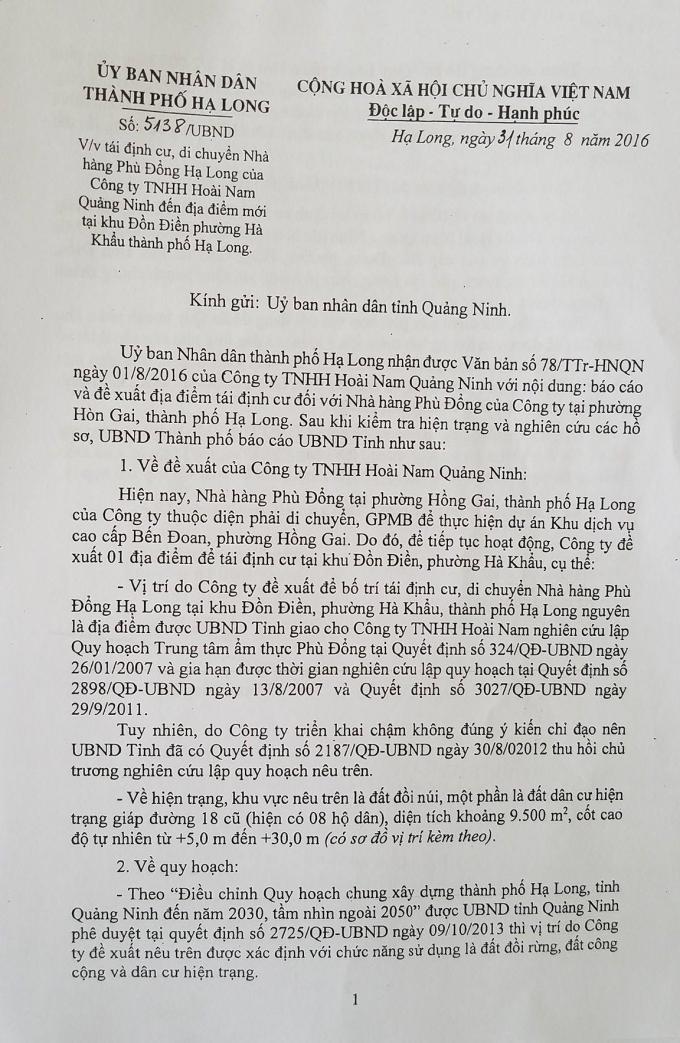 Công văn số 5138 của UBND TP Hạ Long về việc tái định cư di chuyển nhà hàng Phù Đồng đến địa điểm mới tại khu Đồn Điền.