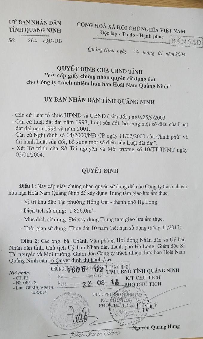 Quyết định cấp Giấy chứng nhận quyền sử dụng đất của UBND tỉnh Quảng Ninh cho Công ty Hoài Nam.