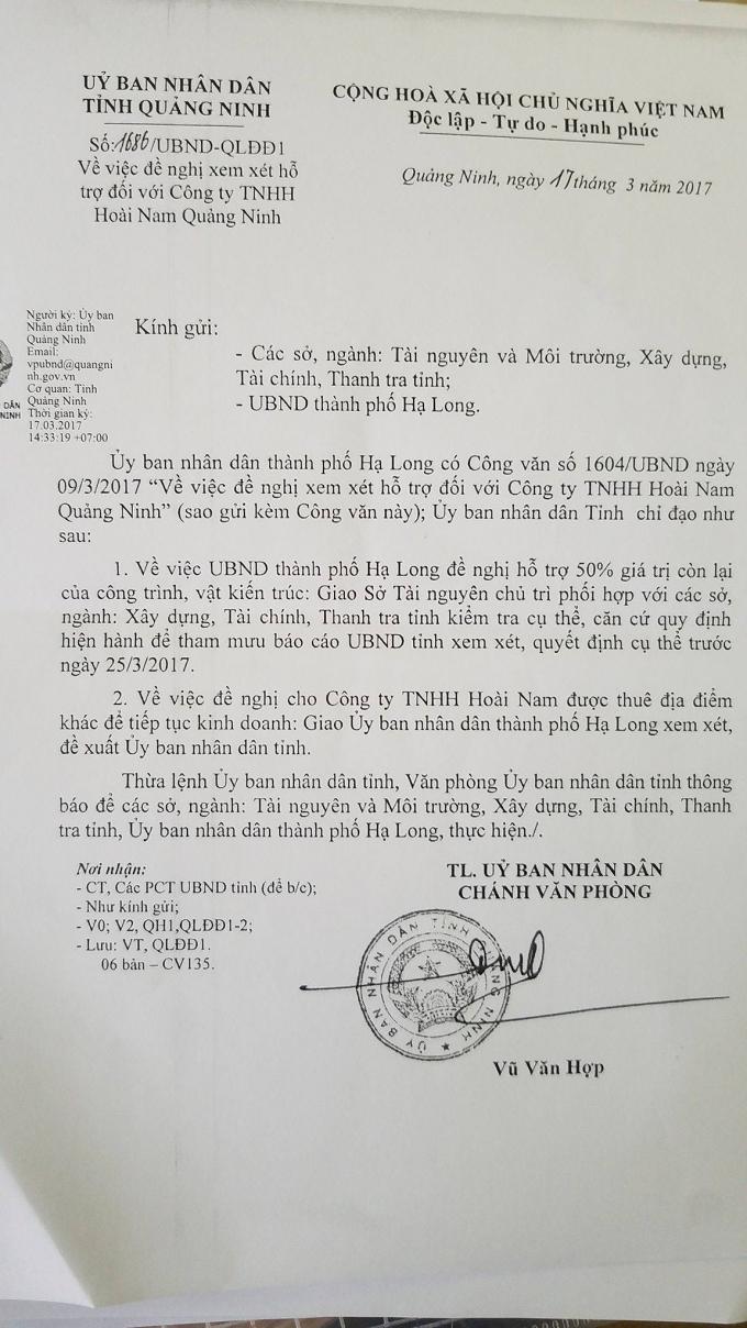 Văn bản của UBND tỉnh Quảng Ninh gửi các Sở, nghành xem xét đề xuất của UBND TP Hạ Long. Tuy nhiên, Sở TNMT Quảng Ninh lại tham mưu bác đề xuất này của TP Hạ Long khiến doanh nghiệp bức xúc.