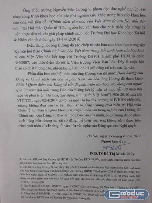 Đơn tố cáo ông Nguyễn Văn Cương, Hiệu trưởng Trường Đại học Văn hóa Hà Nội vi phạm đạo đức nghề nghiệp, sao chép công trình khoa học của các nhà nghiên cứu khác. Ảnh Trần Việt.