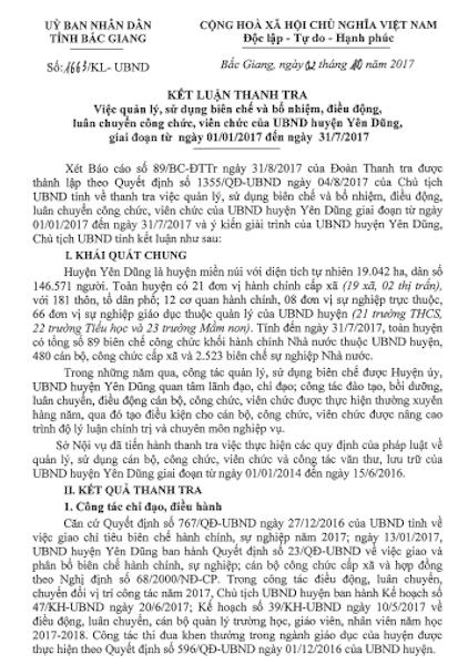 Kết luận thanh tra số 1663/KL-UBND về việc quản lý, sử dụng biên chế và bổ nhiệm, điều động, luân chuyển công chức, viên chức của UBND huyện Yên Dũng giai đoạn từ ngày 1/1/2017 đến ngày 31/7/2017.