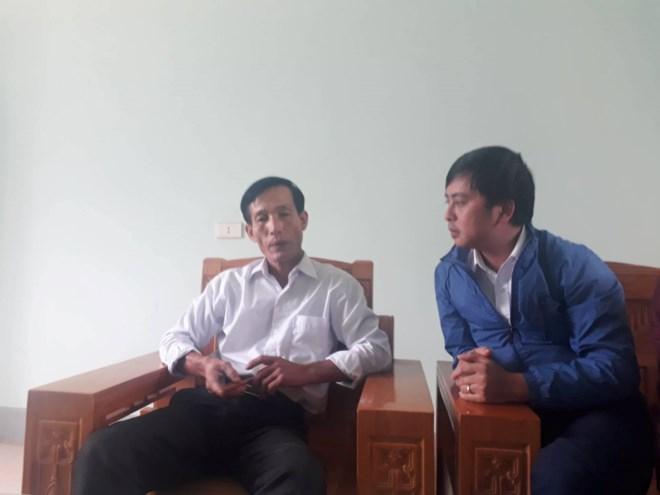 Ông Nguyễn Đình Tiến, Bí thư Đảng ủy xã Nghi Quang trả lời phỏng vấn phóng viên Ngô Toàn.