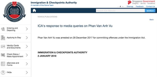 Thông báo của ICA.