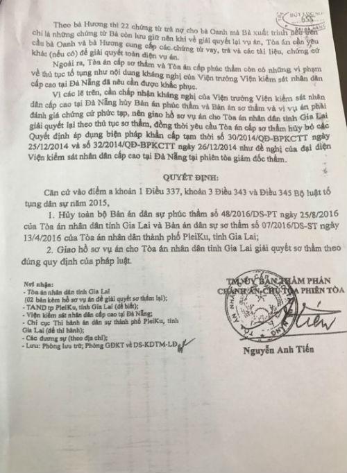 Ủy ban Thẩm phán TAND cấp cao tại Đà Nẵng ra quyết định hủy bỏ toàn bộ Bản án dân sự phúc thẩm ngày 25/8/2016 của TAND tỉnh Gia Lai và Bản án sơ thẩm ngày 13/4/2016 của TAND TP Pleiku.