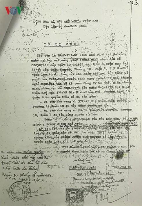 Bản di chúcđược lập năm 1984, bà Trần Thị Ngọc Nga cho rằng không đúng với cơ sở pháp luật.