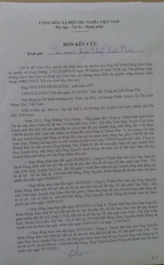 Đơn kêu cứu của ông Nguyễn Văn Nhu gửi tòa soạn Pháp luật Plus.