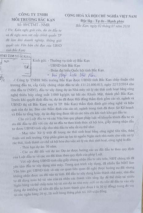 Đơn của Công ty TNHH Môi trường Bắc Kạn gửi các cơ quan chức năng của tỉnh và báo Pháp luật Việt Nam.