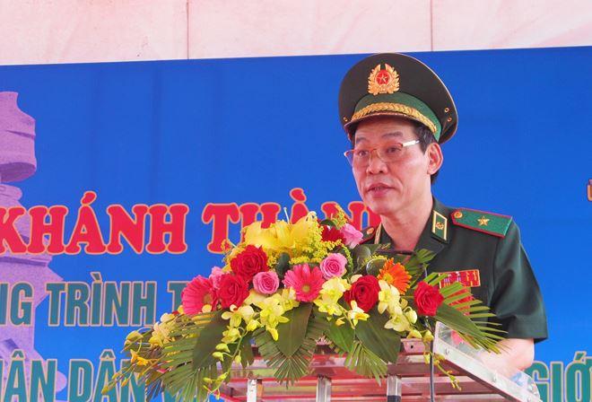 Thiếu tướng Đỗ Danh Vượng, Bí thư đảng ủy, Chính ủy Bộ đội Biên phòng phát biểu tại buổi lễ.