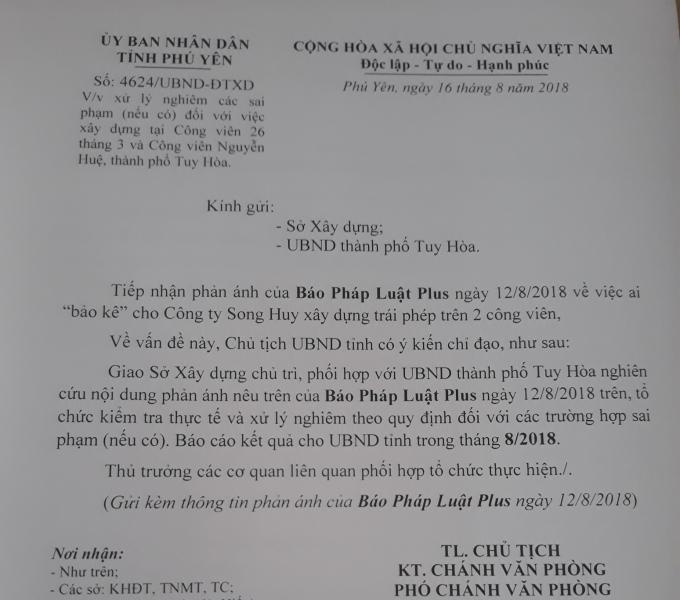 Chỉ đạo của Chủ tịch UBND tỉnh Phú Yên bị UBND TP Tuy Hòa phớt lờ.