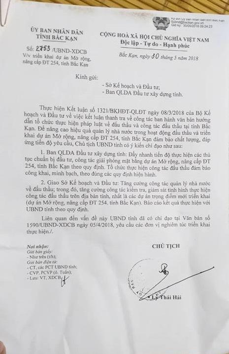 Trước khi tiến hành tổ chức đấu thầu dự án mở rộng, nâng cấp đường tỉnh 254, Chủ tịch UBND tỉnh Bắc Kạn đã có văn bản chỉ đạo phải thực hiện công khai, minh bạch.