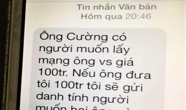 Tin nhắn đe dọa được gửi đến số điện thoại của ông Cường.