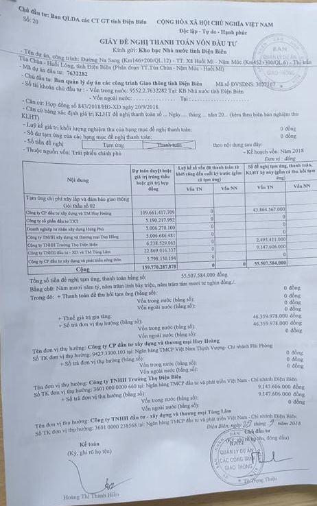 Giấy đề nghị thanh toán ứng vốn cho nhà thầu tại gói thầu số 2 với số tiền hơn 55 tỷ đồng.