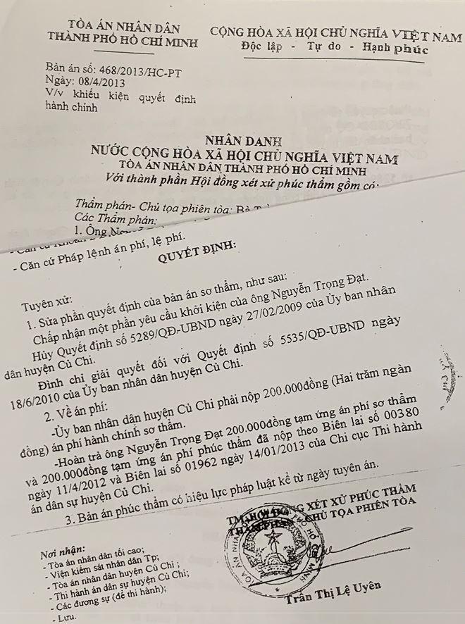 Bản án số 468/2013/HC-PT ngày 08/4/2013 của Tòa án nhân dân thành phố Hồ Chí Minh