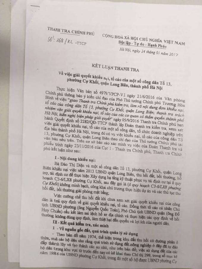 Thanh tra Chính phủ kết luận nhiều sai phạm trong quá trinh thu hồi đất của UBND quận Long Biên.