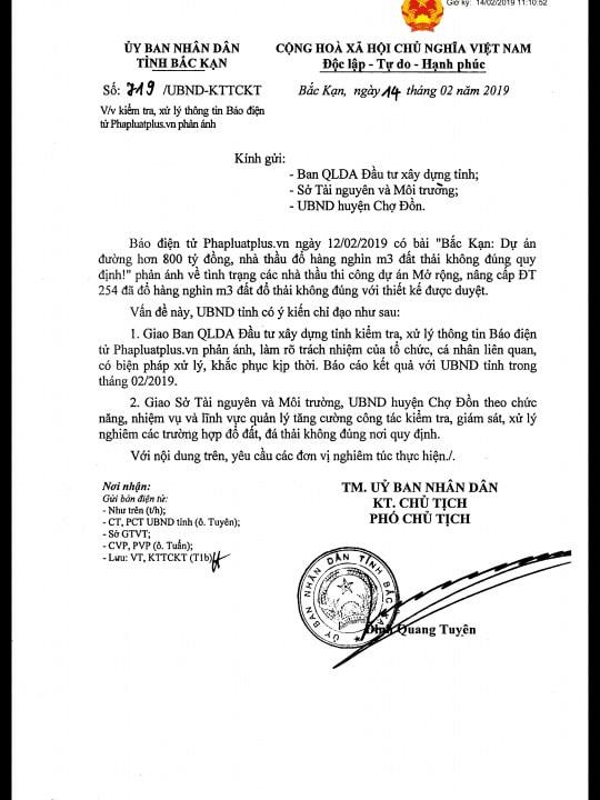 Công văn của UBND tỉnh yêu cầu làm rõ trách nhiệm của tổ chức, cá nhân sau khi Pháp luật Plus phản ánh.