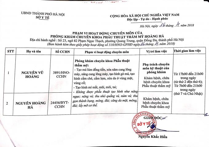 Giấy phép của Sở Y tế Hà Nội cấp phép cho Thẩm mỹ viện Hoàng Hà.