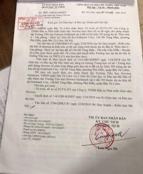 Văn bản của UBND quận Bắc Từ Liêm trình Sở GD&ĐT xem xem quyết định cho phép thành lập trường tại 136 Hồ Tùng Mậu.