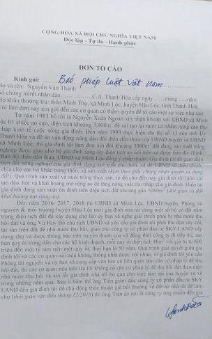 Đơn tố cáo của gia đình ông Nguyễn Văn Thành gửi báo Pháp luật Việt Nam.