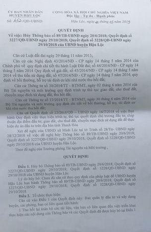 Quyết định số 652 hủy bỏ các quyết định số 3227,3228 và Thông báo số 89 của Chủ tịch UBND huyện Hậu Lộc Nguyễn Văn Luệ.