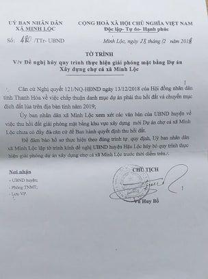 Tờ trình của UBND xã Minh Lộc gửi UBND huyện Hậu Lộc đề nghị hủy các quyết định của Chủ tịch UBND huyện.