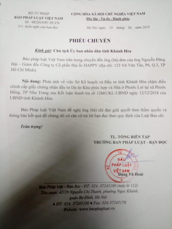 Báo PLVN đã chuyển đơn tới lãnh đạo tỉnh đề nghị báo cáo vụ việc.