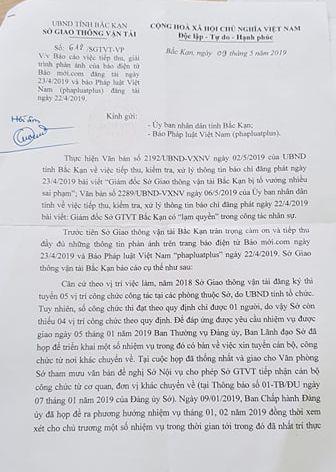 Công văn của Sở GTVT Bắc Kạn phản hồi báo Pháp luật Việt Nam.