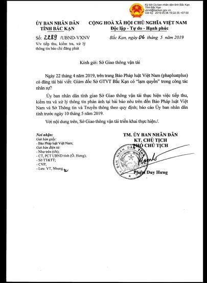 Công văn của UBND tỉnh Bắc Kạn yêu cầu Sở GTVT làm rõ thông tin sau khi báo Pháp luật Việt Nam phản ánh.