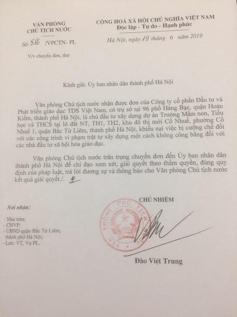 Văn phòng Chủ tịch nước yêu cầu báo cáo vụ cưỡng chế công trình trường học tại quận Bắc Từ Liêm.
