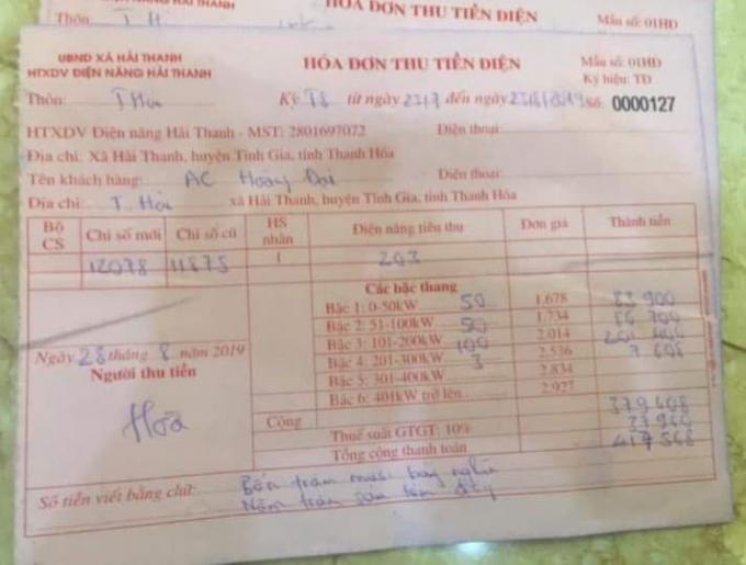 Hóa đơn tự in của UBND xã Hải Thanh dùng để thu tiền điện.