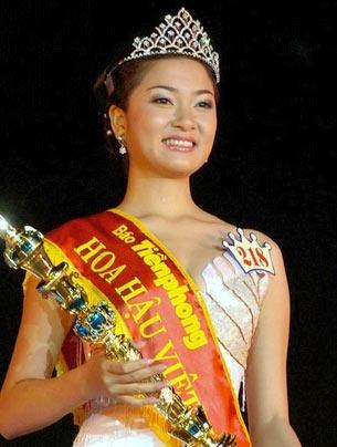 Hoa hậu Nguyễn Thị Huyền thuở mới đăng quang ngôi vị Hoa hậu Việt Nam. Ảnh: Tiền Phong.