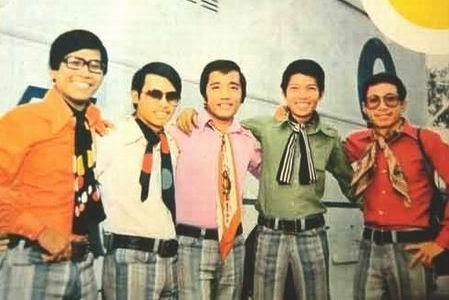 Lê Hựu Hà (áo cam), Elvis Phương (áo hồng) và Nguyễn Trung Cang (áo xanh).