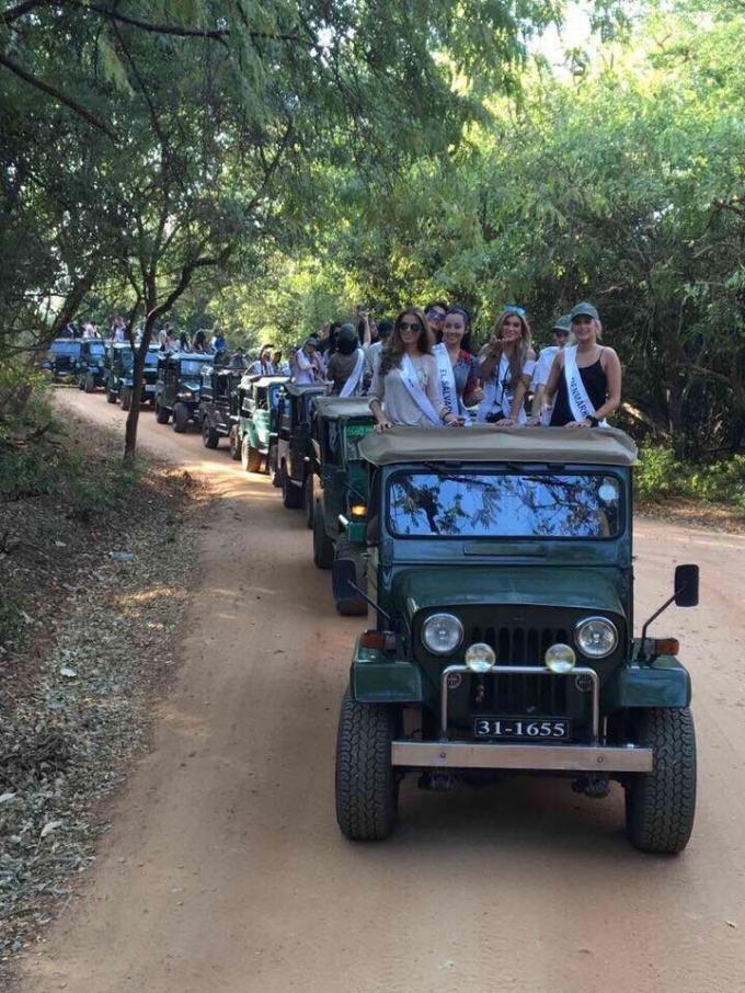 Các người đẹp đã được di chuyển bằng xe jeep đến địa điểm tham quan.