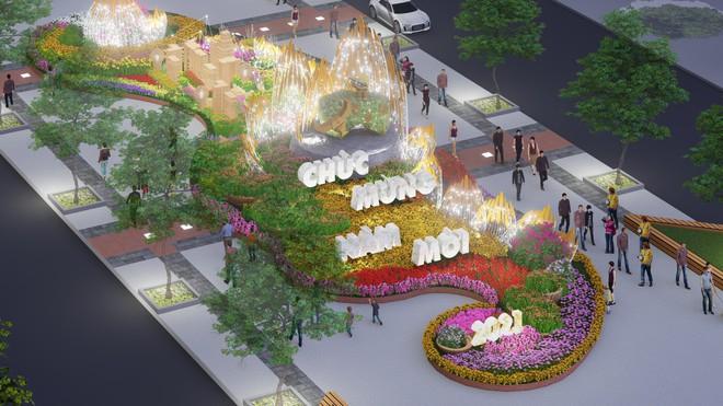 """Đại cảnh """"Thành phố thông minh"""" nằm ở cuối đường hoa như cánh cổng rộng mở vươn đến tương lai bằng hình ảnh bông lúa được thể hiện đầy tính nghệ thuật"""