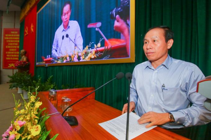 Ông Lê Tiến Châu, Ủy viên Trung ương Đảng, Bí thư Tỉnh ủy, phát biểu chỉ đạo hội nghị. ảnh Duy Khương.