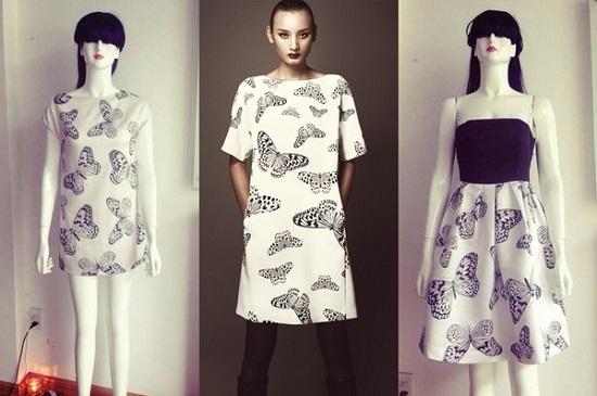 Chiếc váy được bán trong shop của Ngọc Trinh gần giống với chiếc váy của NTK Đỗ Mạnh Cường.Ảnh: Internet