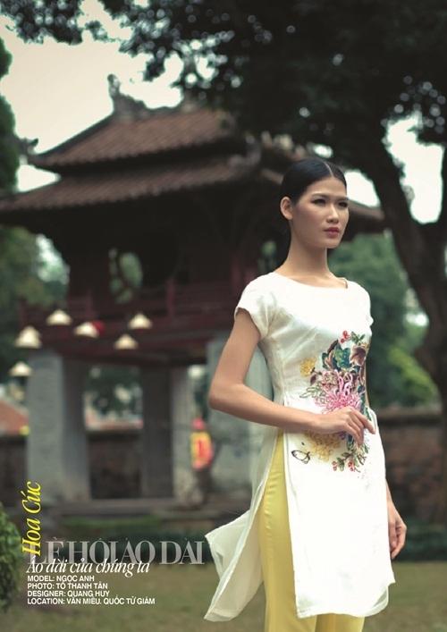 Mẫu thiết kế này của Quang Huy lấy ý tưởng từ hoa cúc. NSND Như Quỳnh sẽ đóng vai trò model cho thiết kế này.