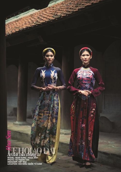 Quốc hoa của Việt Nam với vẻ đẹp thanh cao và tinh khiết đã được tái hiện trong trang phục áo dài của Việt Bảo.