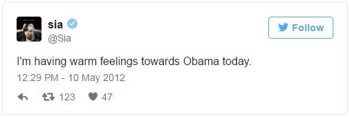 Tổng thống Obama cũng chiếm được cảm tình của nữ ca sĩ người Úc Sia vì sự ủng hộ hôn nhân đồng giới
