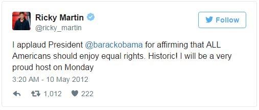 Ricky Martin khen ngợi Tổng thống Obama khi khẳng định mọi người Mỹ nên được hưởng quyền bình đẳng như nhau, và cho rằng điều này mang dấu ấn lịch sử.