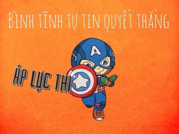 """Captain America với chiếc khiên """"Áp lực thi"""" ngộ nghĩnh.Một yếu tố để chiến thắng trong kì thi cuối này có lẽ là sự đoàn kết, tương trợ nhau từ những """"người đồng đội"""" cùng phòng thi. Bức ảnh thể hiện tinh thần """"Đồng cam cộng khổ"""" từ Spiderman và Deadpool thật sự rất đáng yêu."""
