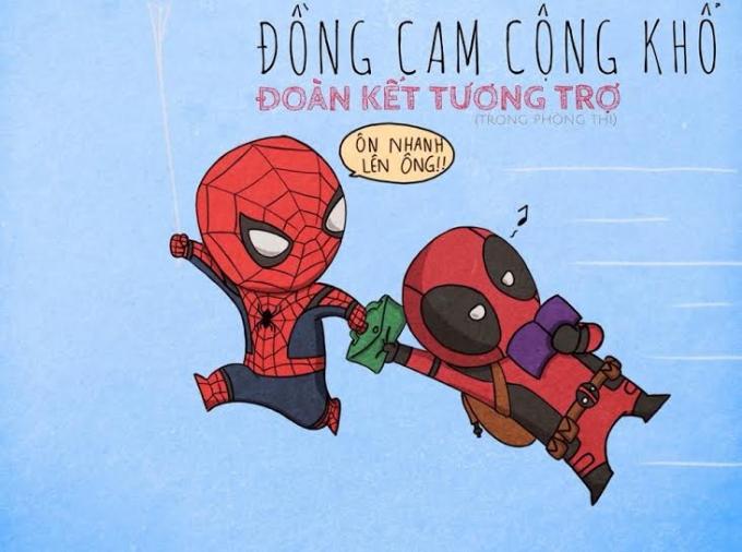 """Spiderman cùng Deadpool """"Đoàn kết tương trợ"""".Nhân vật The Flash trong phim chạy rất nhanh dể giải cứu thế giới, phải chăng ý đồ của bức ảnh thú vị này cũng muốn sinh viên K32 hãy nhanh tay nhanh mắt để hoàn thiện bài thi một cách trọn vẹn nhất."""
