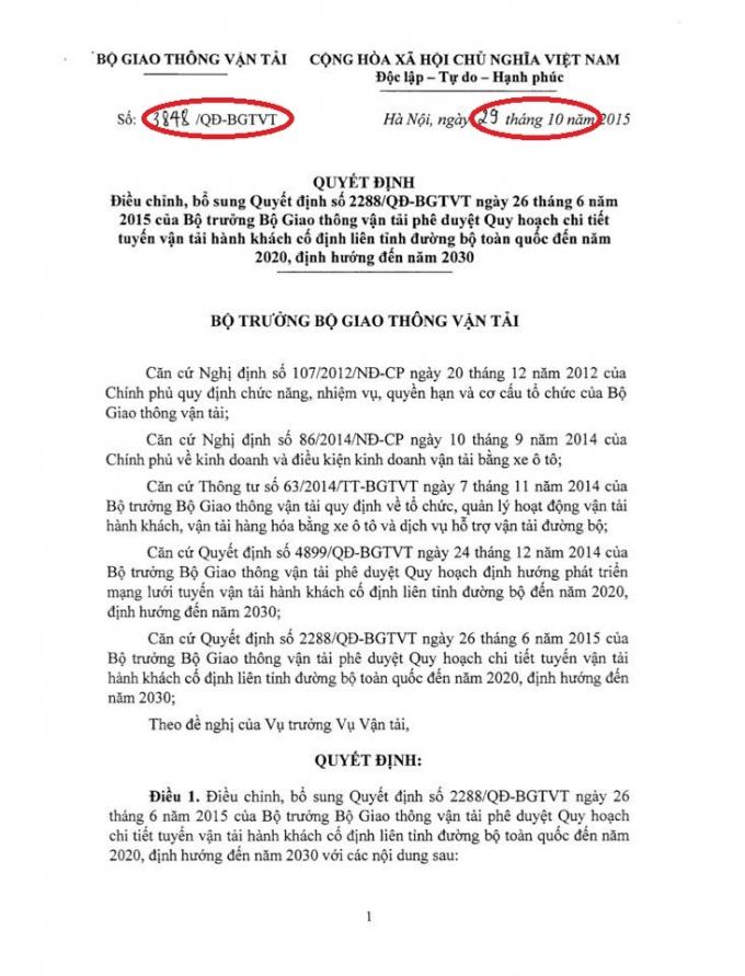 Quyết định 3848 của Bộ Trưởng Đinh La Thăng.