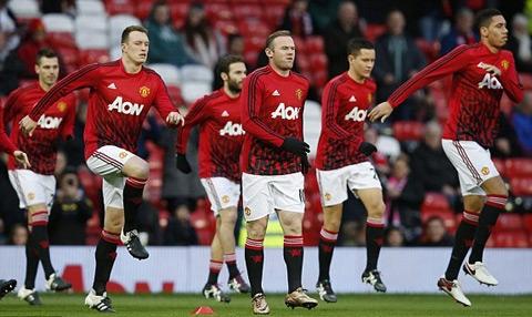 Các cầu thủ MU khởi động trước giờ xung trận